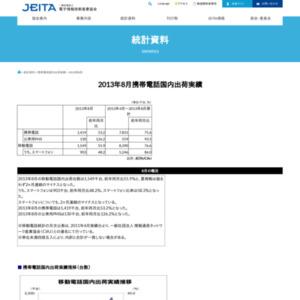 移動電話国内出荷統計(2013年8月分)