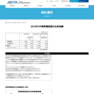 移動電話国内出荷統計(2013年9月分)