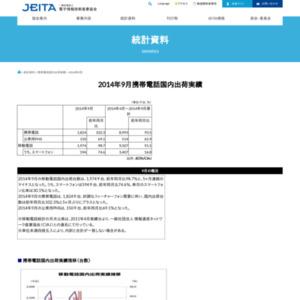 移動電話国内出荷統計(2014年9月分)