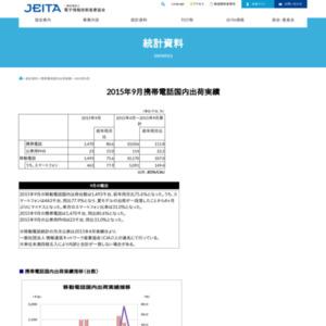 移動電話国内出荷統計(2015年9月分)