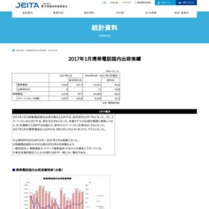 移動電話国内出荷統計(2017年1月分)
