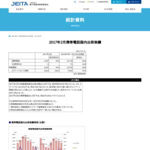 移動電話国内出荷統計(2017年2月分)
