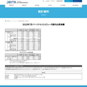 パーソナルコンピュータ国内出荷実績(2012年7月分)