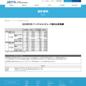 パーソナルコンピュータ国内出荷実績(2013年5月分)