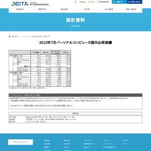 パーソナルコンピュータ国内出荷実績(2013年7月分)