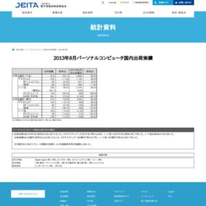 パーソナルコンピュータ国内出荷実績(2013年8月分)