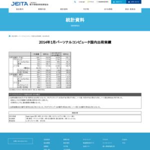 パーソナルコンピュータ国内出荷実績(2014年1月分)