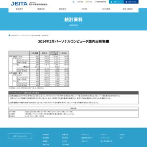 パーソナルコンピュータ国内出荷実績(2014年2月分)