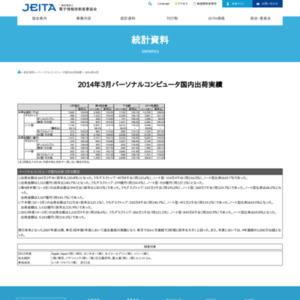パーソナルコンピュータ国内出荷実績(2014年3月分)