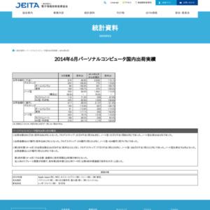 パーソナルコンピュータ国内出荷実績(2014年6月分)