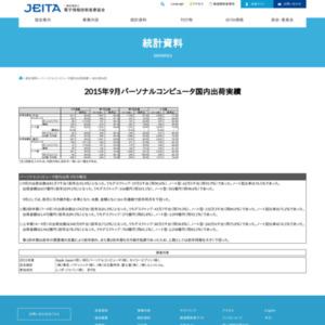 パーソナルコンピュータ国内出荷実績(2015年9月分)