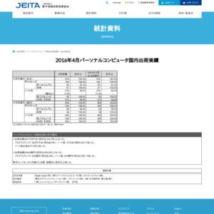パーソナルコンピュータ国内出荷実績(2016年4月分)
