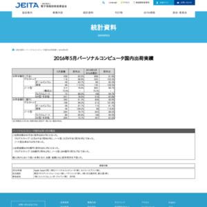 パーソナルコンピュータ国内出荷実績(2016年5月分)