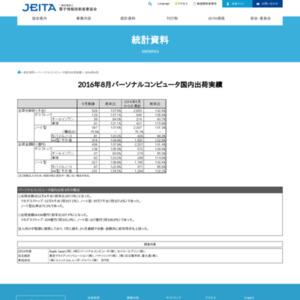 パーソナルコンピュータ国内出荷実績(2016年8月分)