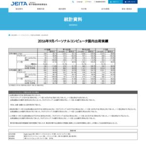 パーソナルコンピュータ国内出荷実績(2016年9月分)
