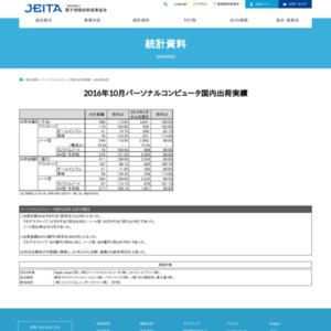 パーソナルコンピュータ国内出荷実績(2016年10月分)