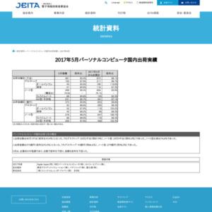パーソナルコンピュータ国内出荷実績(2017年5月分)