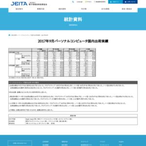 パーソナルコンピュータ国内出荷実績(2017年9月分)