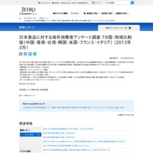 日本食品に対する海外消費者アンケート調査(中国・香港・台湾・韓国・米国・フランス・イタリア) (2013年3月)
