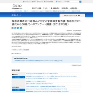 香港消費者の日本食品に対する意識調査報告書-香港在住20歳代から50歳代へのアンケート調査-(2012年3月)