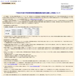 平成24年度中学校理科教育実態調査集計結果(速報)