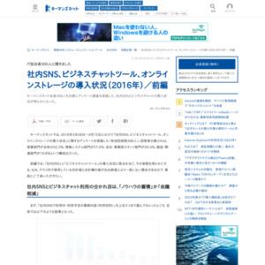 社内SNS、ビジネスチャット、オンラインストレージの導入状況(2016年)・前編
