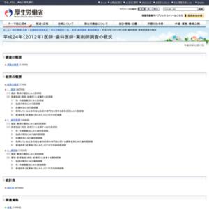 平成24年(2012)医師・歯科医師・薬剤師調査の概況