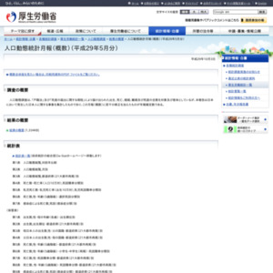 人口動態統計月報(概数)(平成29年5月分)