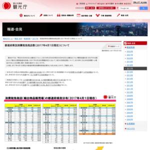 都道府県別消費税免税店数(2017年4月1日現在)