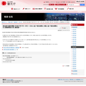 宿泊旅行統計調査(平成25年7月~9月)~日本人延べ宿泊者数、外国人延べ宿泊者数ともに調査開始以来、最高値~