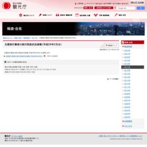 主要旅行業者の旅行取扱状況速報(平成29年2月分)