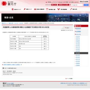共通基準による都道府県の観光入込客統計2014年7月末現在の取りまとめ状況