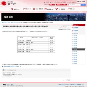 共通基準による都道府県の観光入込客統計11月末現在の取りまとめ状況