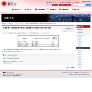 共通基準による都道府県の観光入込客統計 7月末現在の取りまとめ状況
