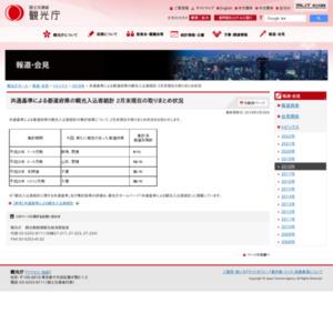 共通基準による都道府県の観光入込客統計2月末現在の取りまとめ状況