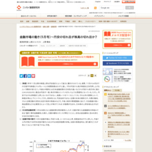 金融市場の動き(5月号)~円安の切れ目が株高の切れ目か?