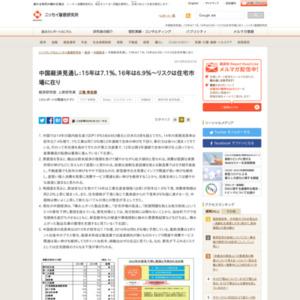 中国経済見通し:15年は7.1%、16年は6.9%~リスクは住宅市場に在り