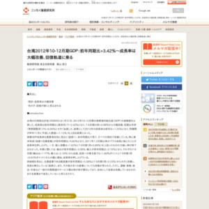 台湾2012年10-12月期GDP:前年同期比+3.42%~成長率は大幅改善、回復軌道に乗る