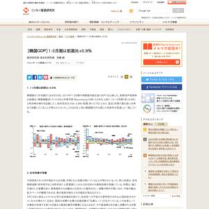 【韓国GDP】1-3月期は前期比+0.9%