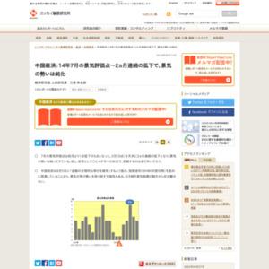 中国経済:14年7月の景気評価点~2ヵ月連続の低下で、景気の勢いは鈍化