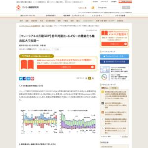 【マレーシア4-6月期GDP】前年同期比+6.4%~内需鈍化も輸出拡大で加速~