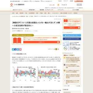 【韓国GDP】10-12月期は前期比+0.4%~輸出が冴えず、内需への波及効果が限定的に~