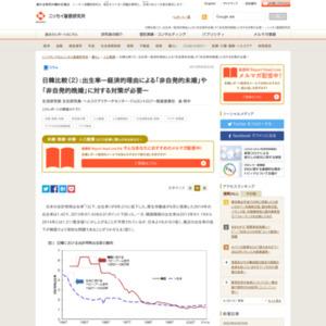 日韓比較(2):出生率―経済的理由による「非自発的未婚」や「非自発的晩婚」に対する対策が必要―
