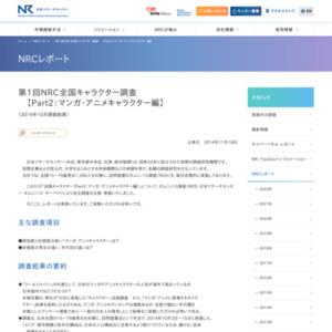 NRC全国キャラクター調査【Part2:マンガ・アニメキャラクター編】(2014年10月調査結果)