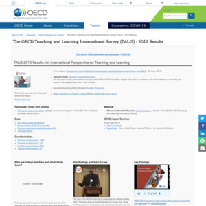 The OECD Teaching and Learning International Survey (TALIS) - 2013 Results