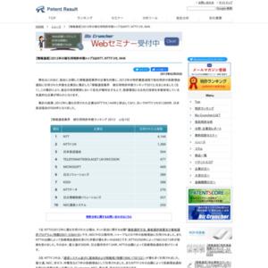 【情報通信業界】2012年の被引用特許件数トップ3はNTT、NTTドコモ、NHK