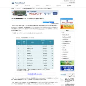 【ゴム製品】特許資産規模ランキング、トップ3はブリヂストン、住友ゴム工業、横浜ゴム