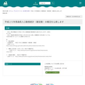 平成25年青森県人口動態統計(確定数)の概況