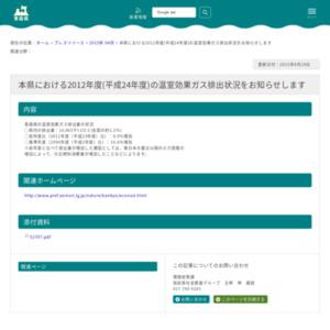 本県における2012年度(平成24年度)の温室効果ガス排出状況