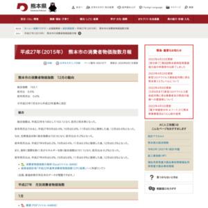 平成27年 熊本市の消費者物価指数